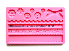 Free shipping Silicone Moulds lace Shape Fondant and Gum Paste Mold Cake Embossing Decoration Mold Button Bowknot