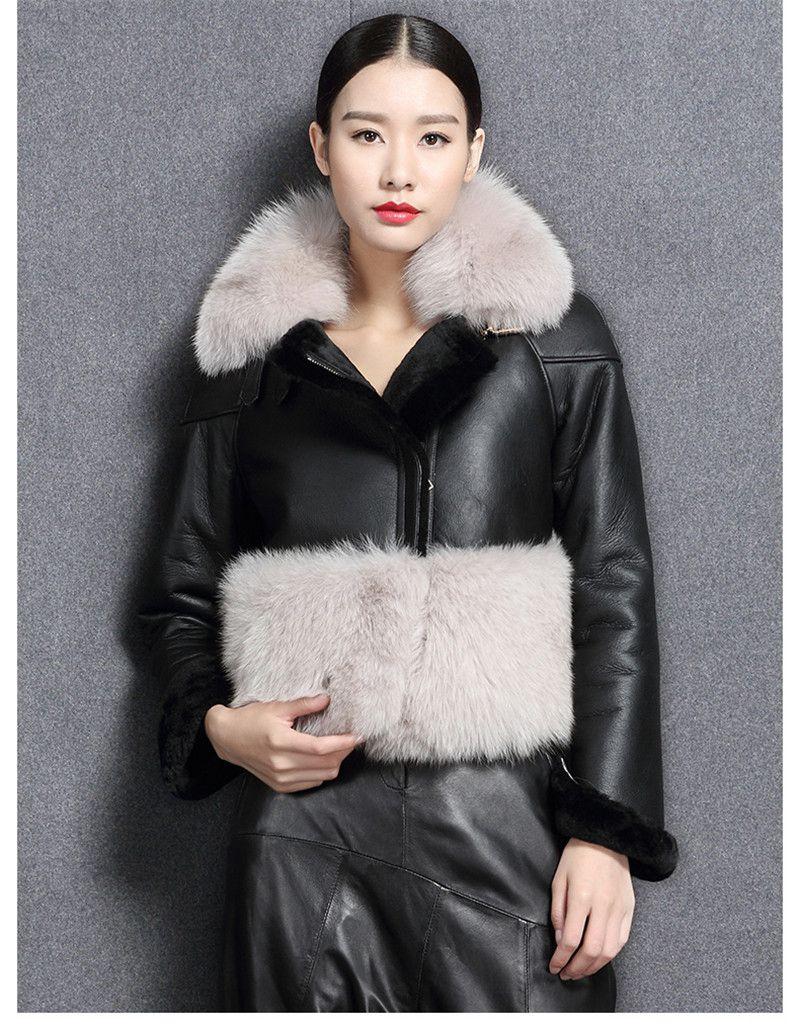 genuine sheep leatherskin jacket fox fur cooar coats (7)