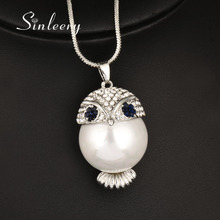 SINLEERY Cute Chubby Simulated Pearl Owl Necklace&Pendants Silver Color Long Chain Female Jewelry Accessories MY420 SSD(China)
