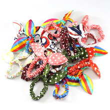 Buy 20 pcs/lot Women Girl Rabbit Ear Scrunchie famale Rubber Hairband Hair band rope Elastic Tie Ponytail Holder Accessories for $3.49 in AliExpress store