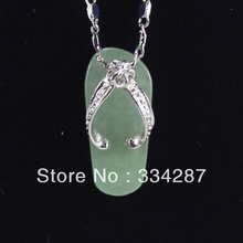 New Listed !Free Shipping MIni slippers-shaped Light Green  Jades   Pendant Chain