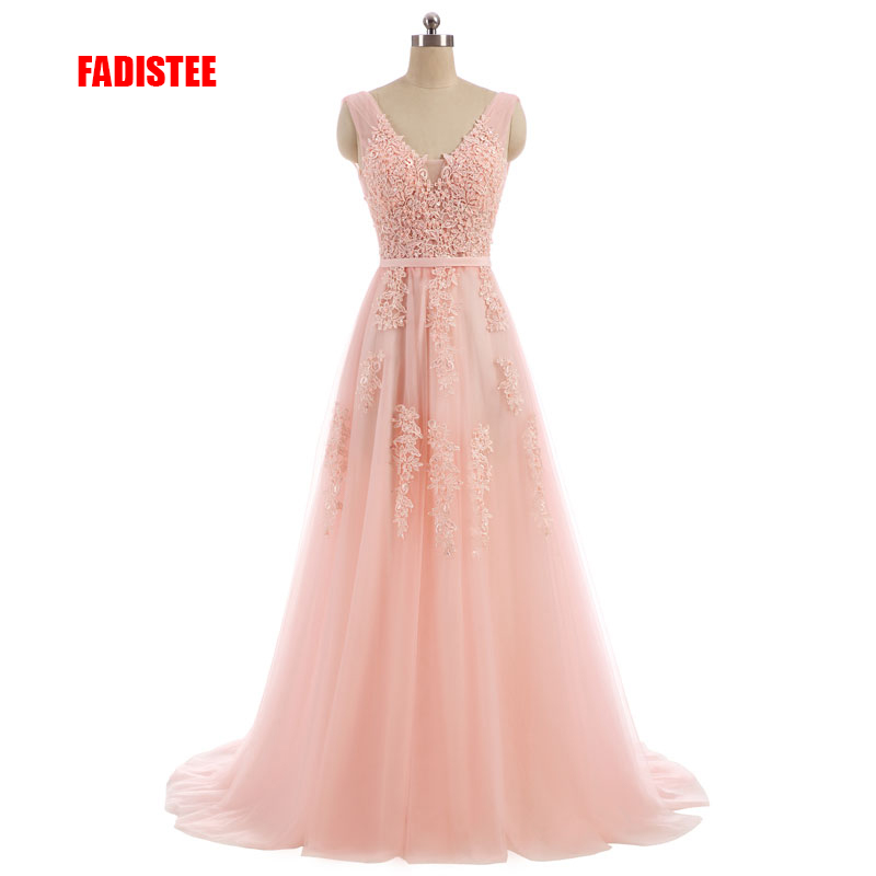 FADISTEE Vestido De Festa Sweet pink Lace V-neck Long Evening Dress Bride Party Sexy Backless beads pearls Prom Dresses(China)