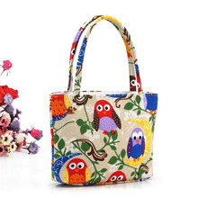 hot top fashion casual floral women handbags pattern multicolor birds portable totes bags can be lunch bags free shipping