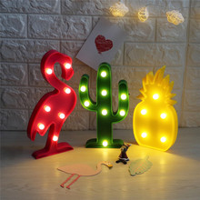 3D Flamingo Pineapple Cactus Night Lights 8 Style Marquee LED Letter Night Lamp For Baby Bedroom Decoration Kids Gift M01(China)
