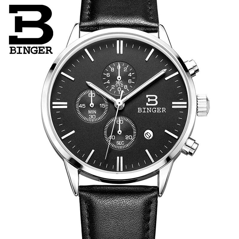 2017 New BINGER watches men luxury brand Wristwatches Quartz watch waterproof leather strap clock Auto Date Chronograph BG9201-2<br>