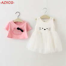 2016 New Baby Girls Clothes Set Kids Hello Kitty Short T-shirt+Cute Cat White Dress Suit Set Girls Clothing Conjunto Menina