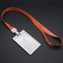 1pcs Orange Vertical Aluminum Alloy Metal ID Business Card Badge Holder with Neck Lanyard Strap For Office School Company