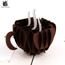 Handmade 3D Coffee Cup Pop up Gift Happy Birthday Greeting Cards Vintage Postcards Thank You Cards Paper Kirigami & Origami(China)