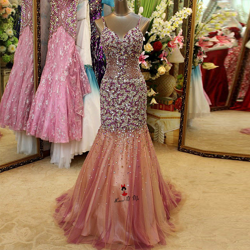 Christmas Luxury Long Evening Gowns Rhinestones Silver Purple Mermaid Prom  Dresses 2018 Robe de Soiree Longue Courte Galajurk 29750c82b273
