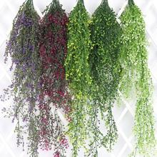 Wedding arch backdrop ideas colorful Artificial Fake plastic hanging vines Plant Garland Home Garden Wall Decoration Supplies(China)