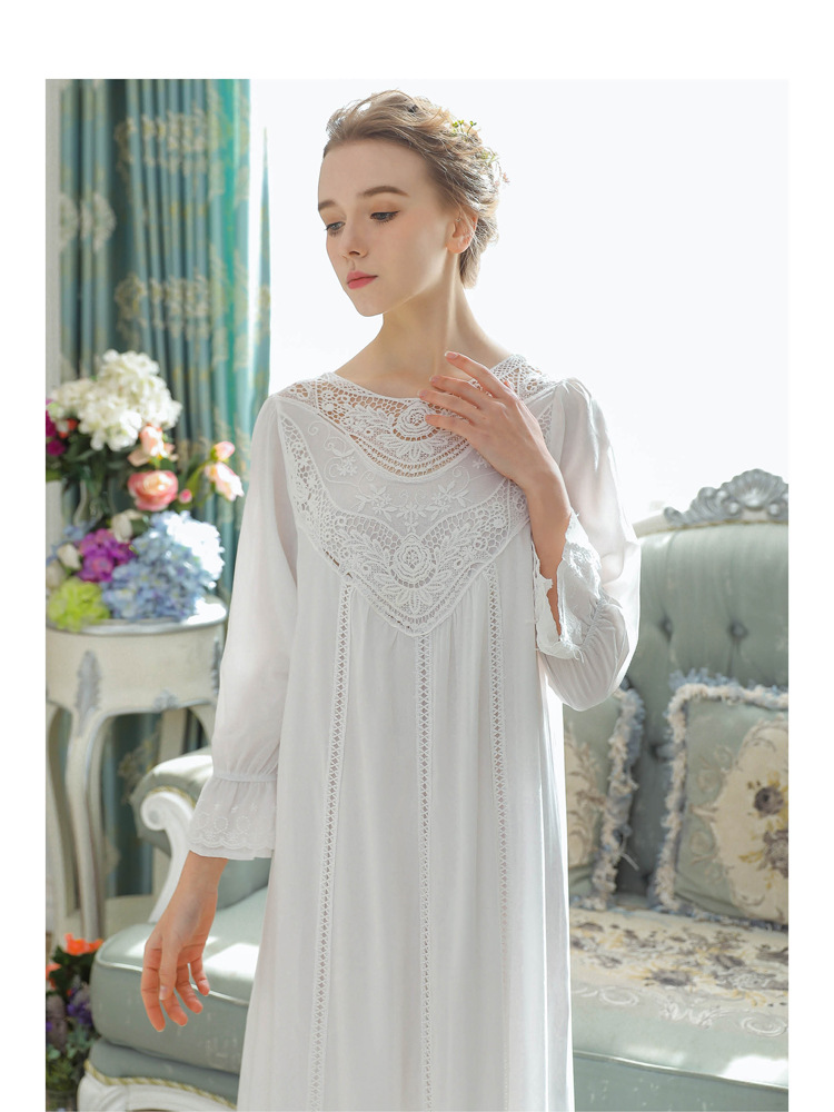 Women Vintage Style Women's Gown Flare Sleeve Pink Cotton Night Dress Long Nightdress Laced Nightshirt Victorian Nightgown 16