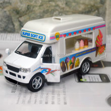 Brand New KT Car Model Toys Super Soft Ice Cream Truck Diecast Metal Pull Back Car Toy For Gift/Kids/Collection