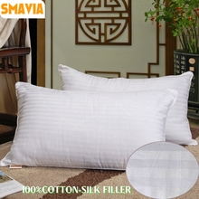 SMAVIA Comfortable Silk Pillow Cotton Cover Chinese Mulberry Silk Filler Zero Pressure Square Sleep Pillow Accept Custom(China)