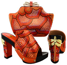 Peach shape orange color beautiful crystal high heel with dragonfly female Italian shoes and bag matching set fast shipment