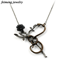 2017 Poisonous Snake With Rose Necklace Women Flower Statement Pendant Necklace Punk Romantic Noble Fashion Necklace For Lovers(China)