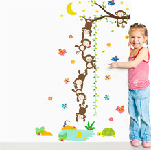 Lovely Monkeys fishing for the moon Height Scale Measure Wall Stickers For Kids Rooms Growth chart Cartoon Nursery Room Decor(China)