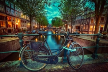 Home decoration amsterdam nederland biking Silk Fabric Poster Print XD031(China)