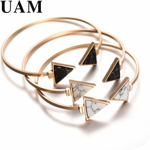 2017 New Gold Tone Punk Trendy White Black Triangle Faux Marbleized Stone Cuff Bangle Bracelet for Women Fashion Jewelry
