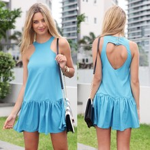 New Summer Sexy Heart Open Cut Out Back Backless Cocktail Party Mini Dress Sky Blue Sleeveless Vestidos 10(China)
