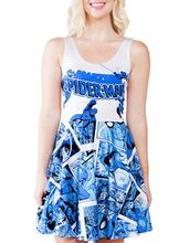2015 the lasest harajuku 3D print blue SpiderMan women's summer dress wholesale and retail milk silk great quality pleated dress