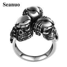 Seanuo Personality 3 skull heads Titanium Steel ring for men jewelry unique punk retro maya male finger sport biker bicycle ring