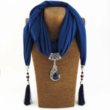 Silk Scarf Necklace Peacock Pendant Neckerchief Scarves Women Fringe Tassel Necklaces Muffler 2017 New Statement Jewelry Bijoux(China)