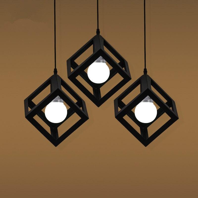 Pendant Lamp USA EU retro village Square pendant creative living room light loft of the Quartet iron lighting bedroom balcony<br>