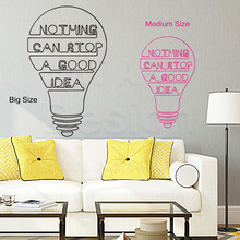 Art fashion design home decor vinyl good idea words wall sticker cheap colorful house decoration character Bulb decals in rooms