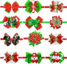 Christmas Hair Bow Red Green White Ribbon Bow Hairband Holiday Headband(China)