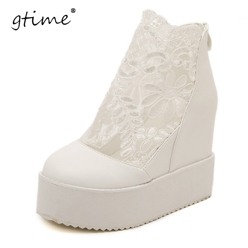 GTIME 2017 NEW Women Fashion Sweet Lace Roman Shoes Women Wedge Heels White Platform Pumps High Heels Sandals # ZWB150<br>
