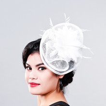 Ladies fancy races white wedding hats and fascinators feather hair accessories women party tocados sombreros bodas sinamay hats