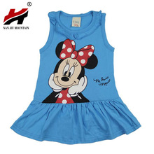2017 summer new baby Kids Girls cartoon Minnie dress girls Party dresses child's clothing striped tutu Princess dress 1-5years