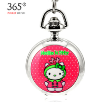 2016 Fashion Hello Kitty Cartoon Steampunk Clock for necklace chain Pocket Watch For Men and Women Gift relogio de bolso