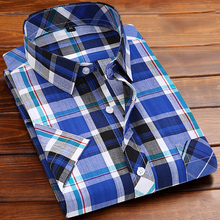 Buy Fashion Brand Spring Summer Short Sleeve Plaid Shirts Men Casual Hawaiian Shirt Slim Fit Mens Shirts Camisa Social Masculina for $12.00 in AliExpress store