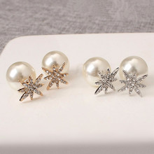 2017 Hot Rhinestone Snowflake Imitation Pearl Double Sided Stud Earrings Fashion Fine Metal Geometry Star Removable Earring