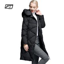 Fitaylor New Winter Women Down Jacket Slim Hooded Coat 90% White Duck Down Parkas Fashion Long Jacket Warm Snow Black Outwear(China)