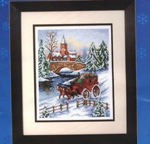 Free delivery Top Quality popular counted cross stitch kit snow horse coach cart wagon carriage winter Anchor PCE840(China)