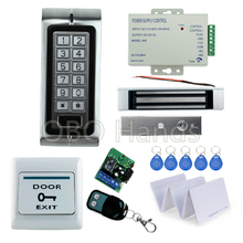 High quality Metal access control Keypad K2+180KG magnetic lock+3A/12V power supply+exit button+10pcs key cards+wireless remote
