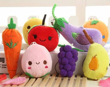 Wholesale 20pcs MIX Vegetables , Fruits 4-6CM Stuffed TOY DOLL , Mini Wedding Bouquet TOY Gift Plush String TOY DOLL