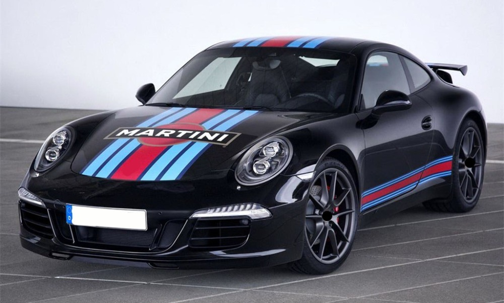 For Porsche Panamera 911 Martini Color Racing Stripes Car Hood Tail Wing Roof Decor Sticker Auto Side Skirt Customized Decal (10)