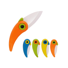 New Random Color 1 Piece Mini Pocket Knife Parrot Pattern Knife Ceramic Fruit Knife Folding Pottery Knife Dropshipping Hot Sale