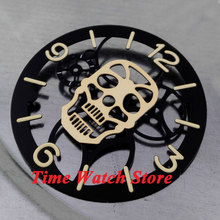 Parnis 38.9mm Skull face black Sterile dial golden marks watch dial fit for 6497 movement D20