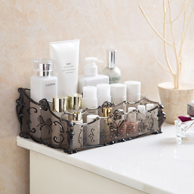 Embossed Pattern Butterfly Palace Retro Dresser Cosmetics Boxes Desktop Plastic Storage Box Skincare Makeup Blogger Organizer