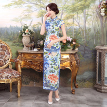 Blue Silk Traditional Chinese Dress Long Cheongsam Qipao Dresses Robe Chinoise Oriental Style Wedding Qi Pao Asian Formal Women