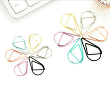 Small Size 2.5*1.6cm Modeling Paper Clips Metal Material Water Drop Shape Colored Bookmark Memo Clips Kawaii Bookmark Clips(China)