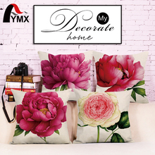 "18"" Pillowcase 3D Rose Printed Cushions Linen Cushion Cover Throw Pillow Case For Living Room Bed Room Flower Peony Small Fresh"