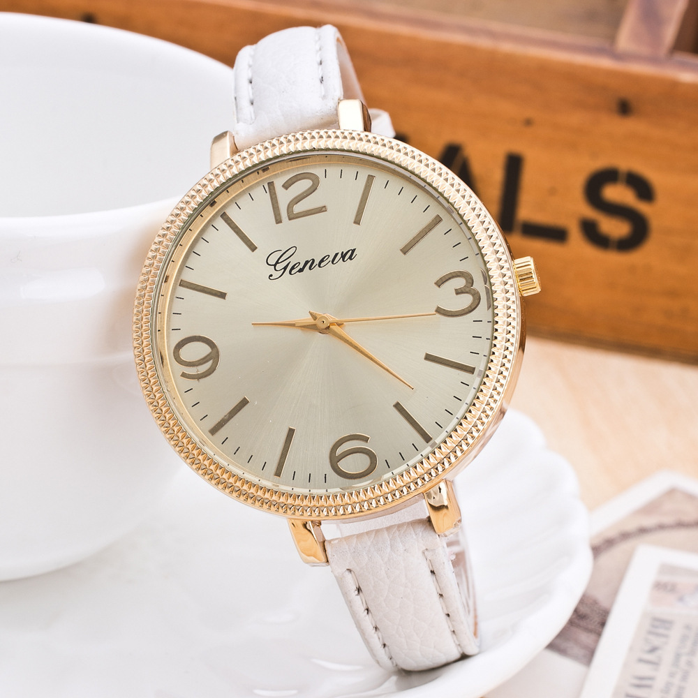 Women Slim Big Dial Leather Watch Geneva Leisure Vintage Fashion Multicolor Quartz Watches Free Shipping   AAW031<br><br>Aliexpress