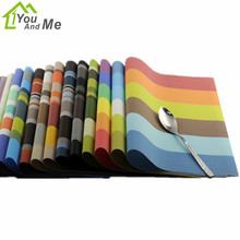 1 PC 45*30cm Rainbow Pattern Tableware PVC Placemat Kitchen Dinning Bowl Dish Waterproof Pad Table Mat