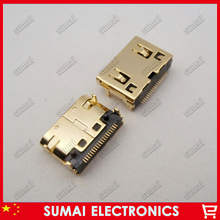 100pcs/lot Gold-plating HDMI Female Jack Socket 19pin Connector,MINI HDMI Data Port free shipping