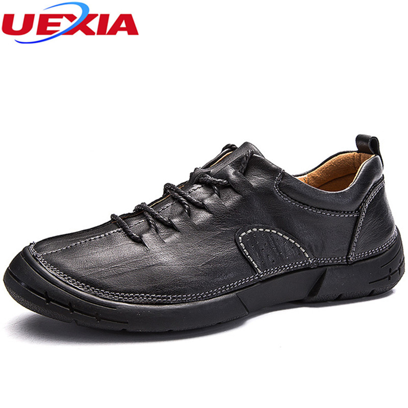 UEXIA Leather Fashion Men Shoes Handmade High Quality Flats Casual Sneakers Classic Walking Shoes Black Young Designer Platform<br>